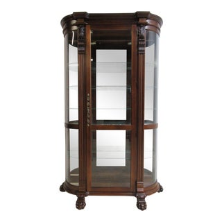 Cherry Pulaski Paw Foot Carved Bow Glass Curio China Display Cabinet