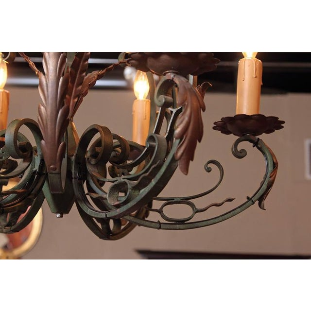 Early 20th Century French Six-Light Iron Chandelier With Verdigris Finish - Image 3 of 10