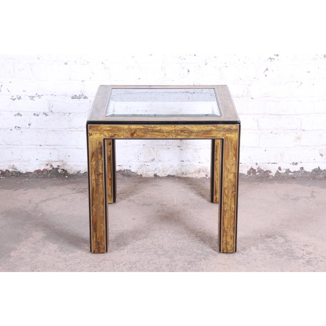 Hollywood Regency Bernhard Rohne for Mastercraft Hollywood Regency Acid Etched Brass and Ebonized Occasional Side Table, 1970s For Sale - Image 3 of 9