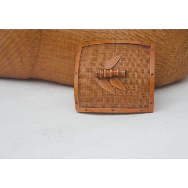 Textile Vintage Mid-Century Handwoven Straw Ram Figure Box For Sale - Image 7 of 13