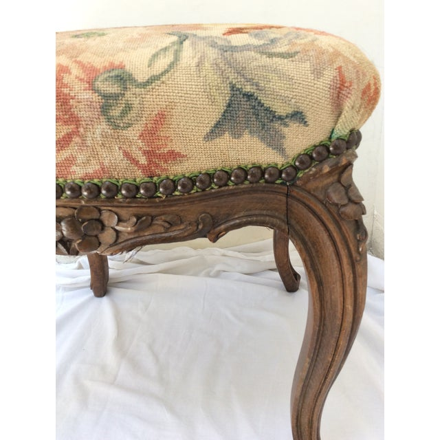 Late 19th Century Antique French Tapestry Stool For Sale - Image 5 of 10
