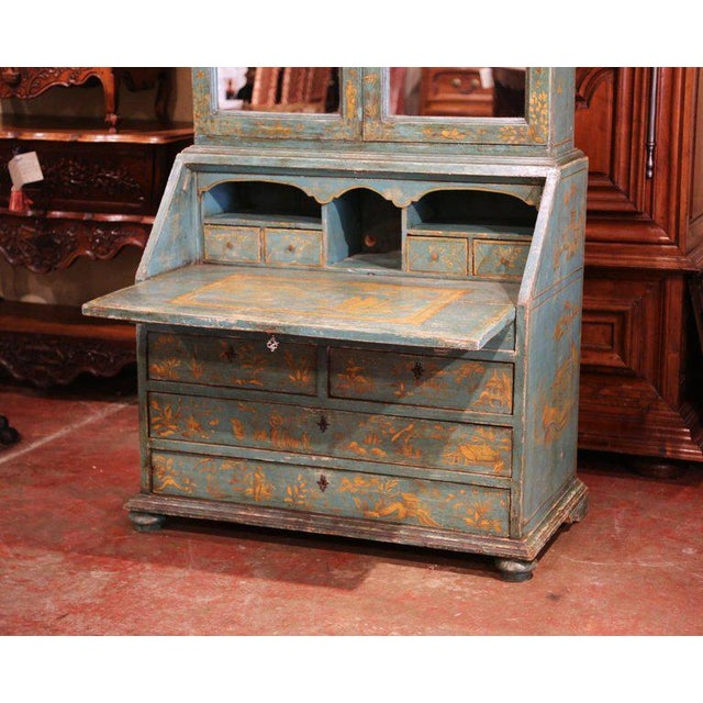 Gray 18th Century Italian Hand Painted Secretary Bookcase With Chinoiserie Decor For Sale - Image 8 of 12