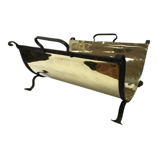 Antique Brass and Iron Firewood Log Holder For Sale