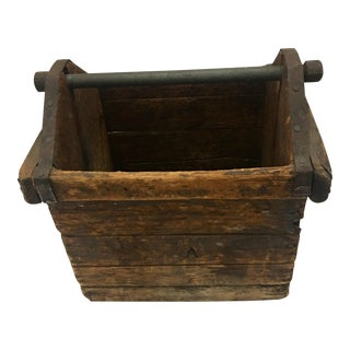 1940s Industrial Wood & Metal Tool Basket For Sale