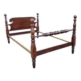 Antique 19th Century Colonial Chippendale Mahogany Cannonball Full Size Bed C1890 For Sale