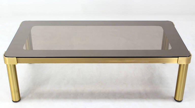 Gold Mid Century Modern Brass And Two Tone Glass Coffee Table By  Mastercraft For