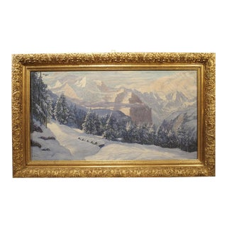 The Swiss Alps in Winter, Large Oil on Canvas by Hans August Haas 1866-1943 For Sale