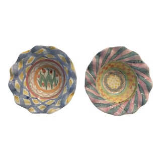 """MacKenzie Child's """"Victoria & Richard"""" Fluted Bowls - a Pair For Sale"""