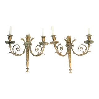 19th Century Louis XVl French Bronze Sconces - A Pair