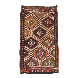 1960s Turkish Embroidered Decorative Small Kilim Rug For Sale