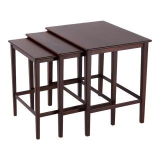 Mid-Century Modern Eske Kristensen Ludvig Pontoppidan Danish Teak Nesting Tables 1950s - 3 Pieces For Sale
