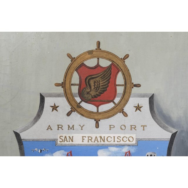 """""""Army Port, San Francisco"""" 1945 Outsider Art Oil Painting For Sale - Image 4 of 10"""