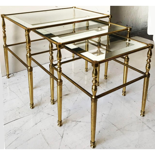 Maison Jansen Vintage French Set of 3 Nesting tables by Maison Jansen For Sale - Image 4 of 4