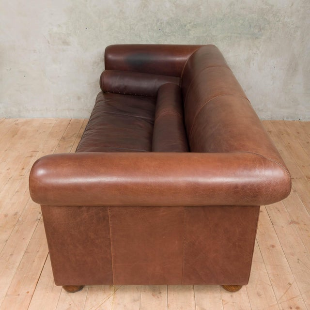 Mid-Century Baxter Buffalo Leather Italian Sofa For Sale In New York - Image 6 of 12