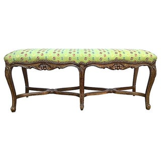 Antique French Carved & Upholstered Bench For Sale