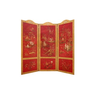 Chinoiserie 3 Panel Red Foldable Screen For Sale