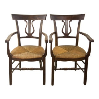Empire Style Hand Woven Rush Chairs - A Pair For Sale