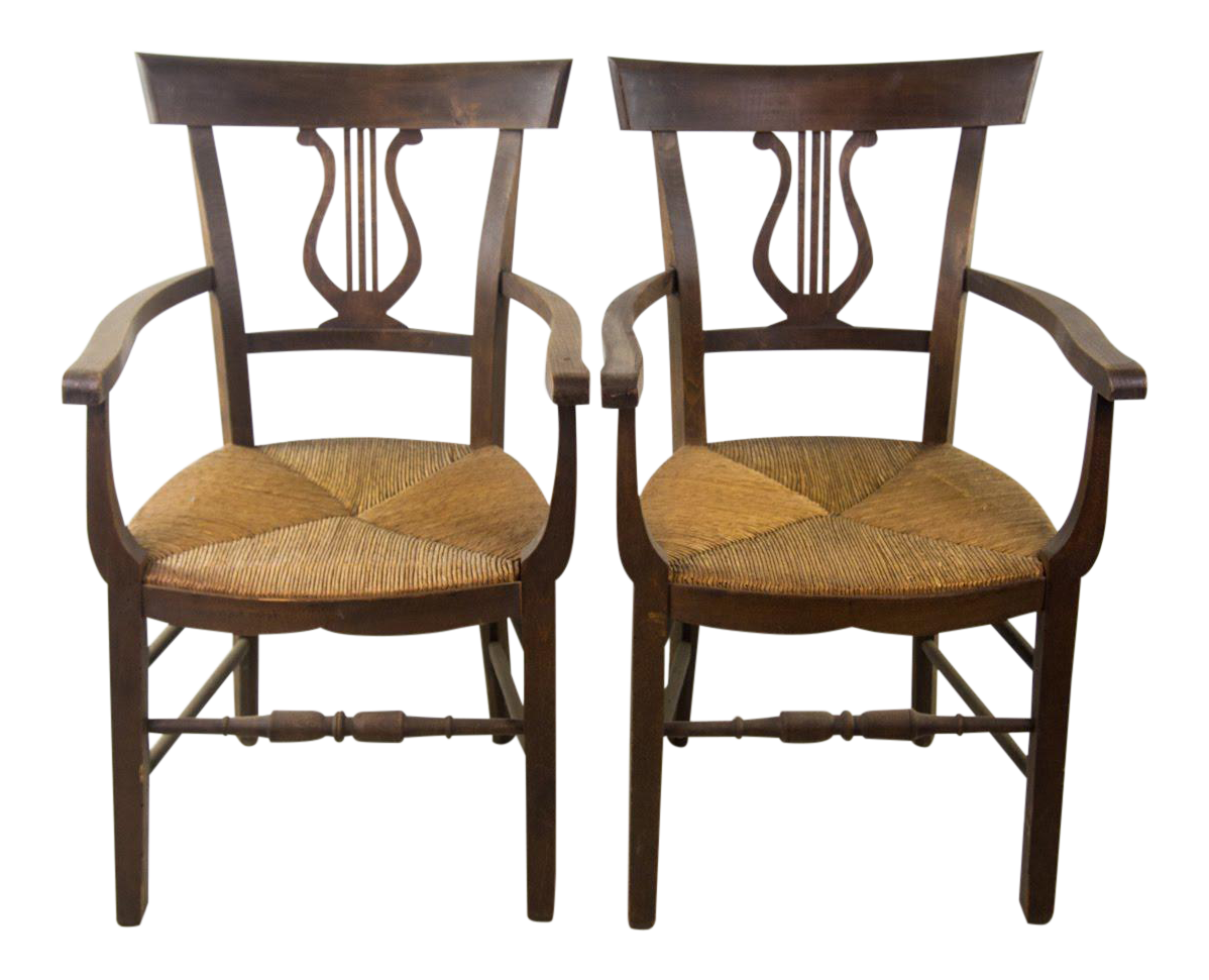 Empire Style Hand Woven Rush Chairs   A Pair For Sale