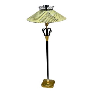 1950s Atomic Style Floor Lamp With Fiberglass Shade For Sale