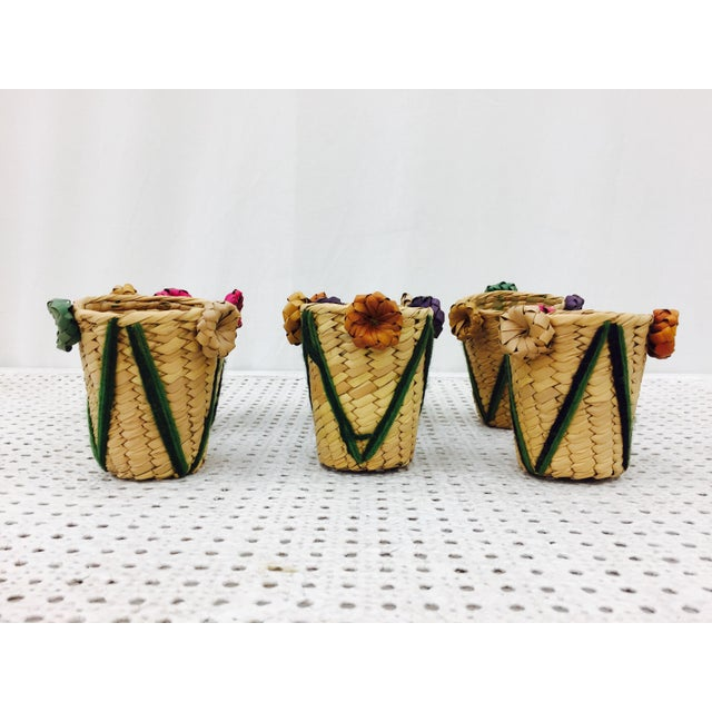 Vintage Woven Grass Cocktail Glass Holders - Set of 6 For Sale - Image 4 of 11