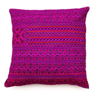 Hill Tribe Pink Pillow - Handmade in Thailand