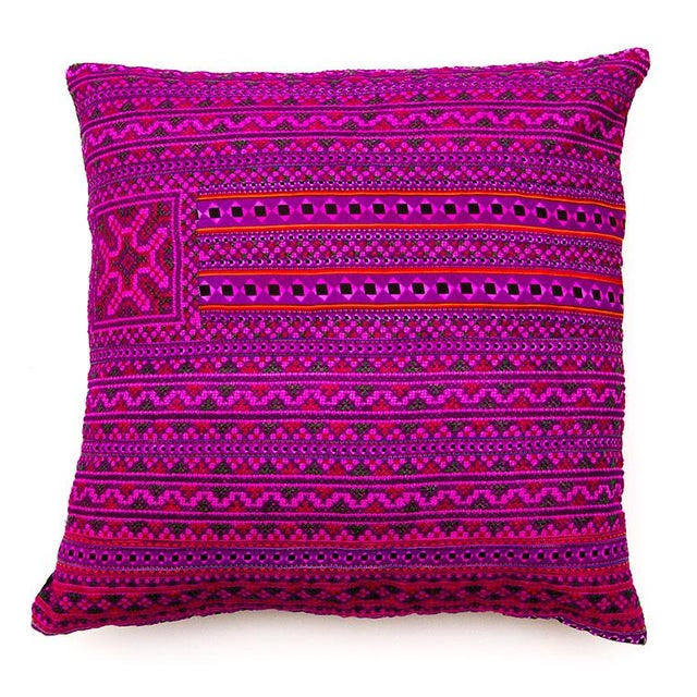 Hill Tribe Pink Pillow - Handmade in Thailand - Image 1 of 4