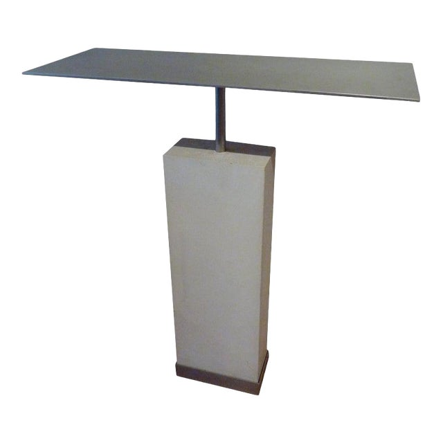 Mid-Century Style Limestone and Steel Console Table For Sale