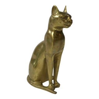 Egyptian Brass Cat Figure For Sale
