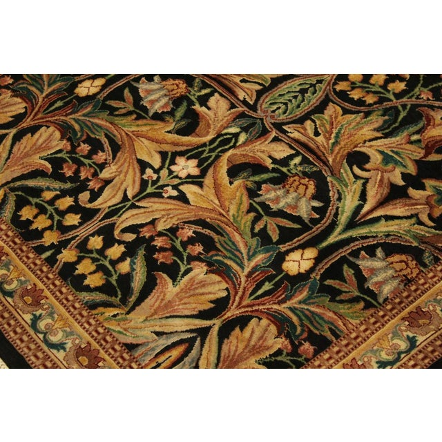 Textile Art Nouveau International Pak-Persian Latanya Black/Ivory Wool Rug - 4'1 X 5'1 For Sale - Image 7 of 8