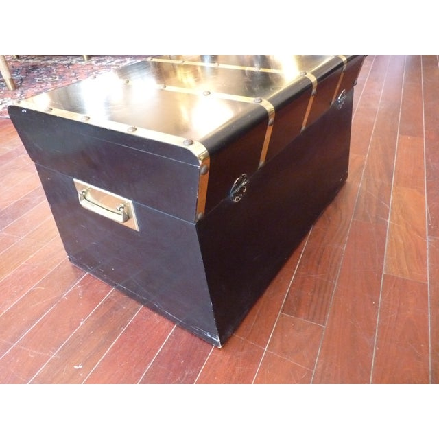 Lane Small Black Trunk with Brass Straps For Sale - Image 7 of 8