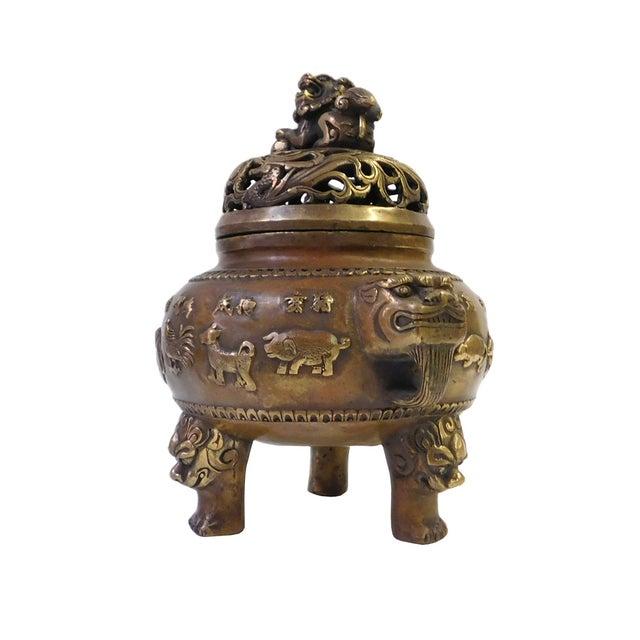 12 Zodiac Bronze Metal Incense Burner - Image 3 of 7