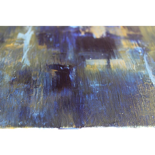 Original Abstract Modern Art Painting, Indigo Blue Gold on Metallic Canvas - Image 2 of 5