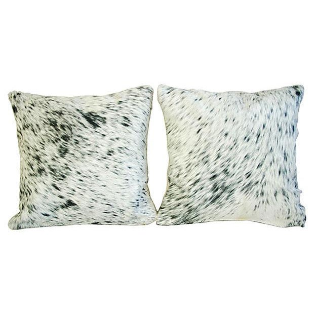 Custom Natural Cowhide & Down Pillows - A Pair - Image 1 of 6