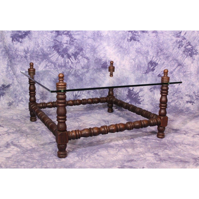 Baroque Turned Wood Glass Top Table - Image 8 of 8