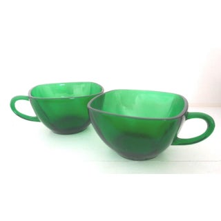 Anchor Hocking Vintage Forest Green Glass Punch Cups - Set of 6 Preview