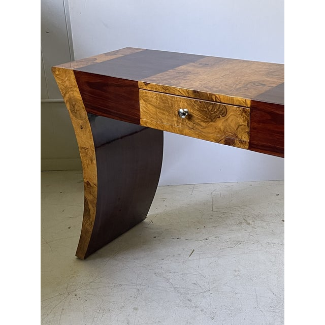 Mid 20th Century Vintage Italian Rosewood and Burlwood Console or Desk For Sale - Image 5 of 13