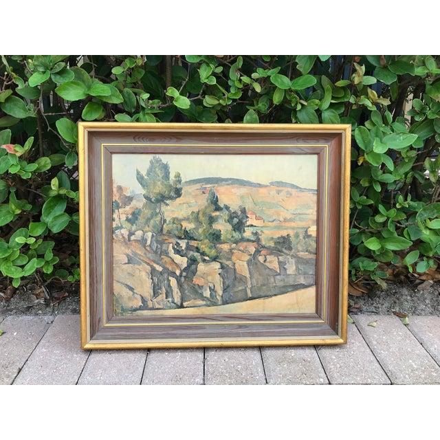 Brown Vintage Italian Landscape Scene Print, Framed For Sale - Image 8 of 9