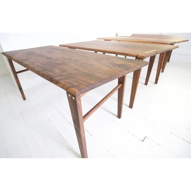 Minimalist Solid Claro Walnut Geometric Coffee Table For Sale - Image 6 of 6