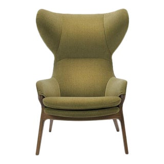 Cassina Olive Velvety Upholstered Modern Wing Chair With Walnut Frame For Sale