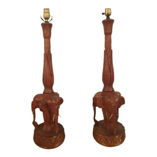 Vintage Hand Carved Wooden Elephant Table Lamps - A Pair For Sale
