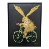 """Image of """"Biking Bunny With Hermès Scarf"""" Contemporary Acrylic Painting, Framed For Sale"""