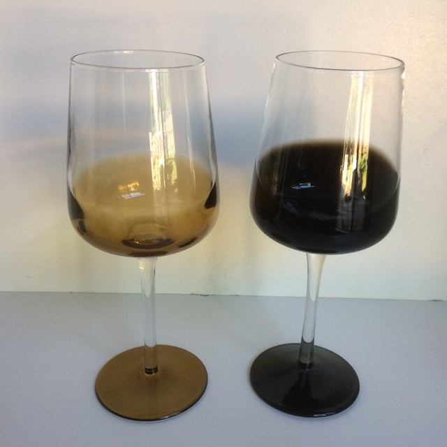 1980s Mid-Century Modern Style Reverse Ombré Black & Amber Brown Wine Glasses - Set of 6 For Sale - Image 5 of 13