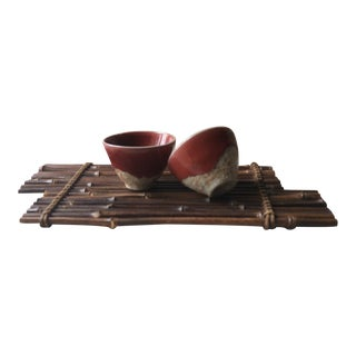 Vintage Earthenware Saki Cups and Bamboo Tray Set - 3 Piece Set For Sale