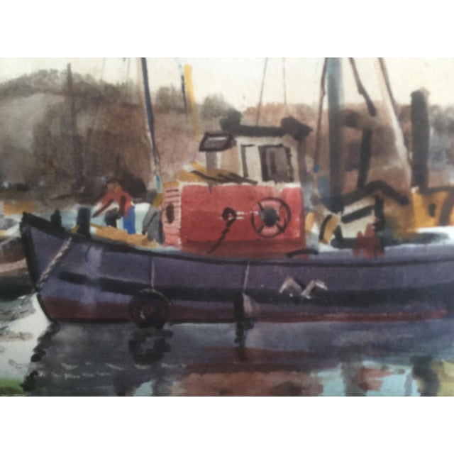 1940s Fishing Boats Watercolor For Sale - Image 5 of 11