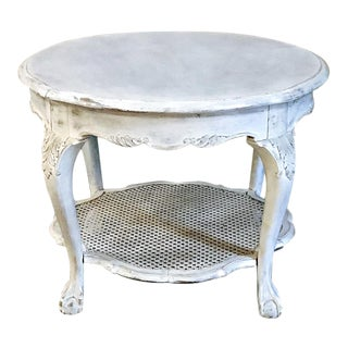 Antique Chippendale Round Painted End Table For Sale