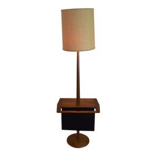 Laurel Mid Century Modern Walnut Floor Lamp With Magazine Rack