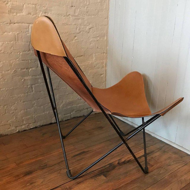Jorge Ferrari-Hardoy for Knoll Leather Butterfly Chair For Sale In New York - Image 6 of 9