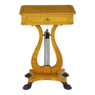 Antique Biedermeier Birch Accent Side Table, 19th Century For Sale