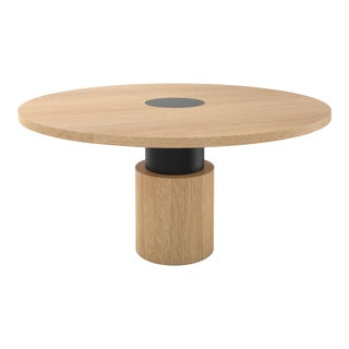 Contemporary 100 Dining Table in Oak and Black by Orphan Work For Sale