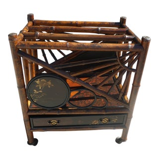 Victorian Japanned Bamboo Canterbury For Sale